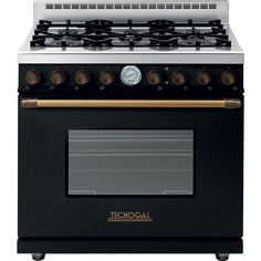 "Tecnogas Superiore Range Deco 36"" Classic Matted with Brass Accents"
