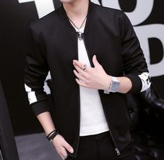 Color block bomber jacket for men plus size clothing