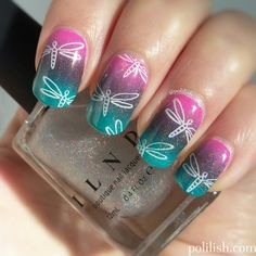 Gradient nails with dragonfly stamping (UberChic 4-01 plate), and a holographic top coat - #ILNP My Private Rainbow (S).