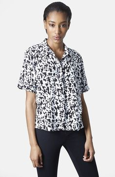 Free shipping and returns on Topshop Monochrome Animal Print Shirt at Nordstrom.com
