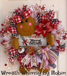 Deco Mesh Gingerbread Girl Holiday Wreath in Red, White & Tan, Christmas Wreath, Gingerbread Decor, Christmas Decor, Kitchen Xmas Decor by WreathWhimsybyRobin on Etsy