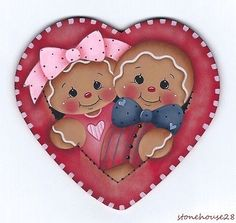 HP GINGERBREAD Couple in a Heart (Valentine's) FRIDGE MAGNET