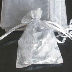 50pcs 12x17cm (4.5x6.5inch) Solid Silver Gray Drawstring Organza Gift Bag Pouch Wedding Xmas New Year Birthday Party by AnneJewelryAcc, $7.98