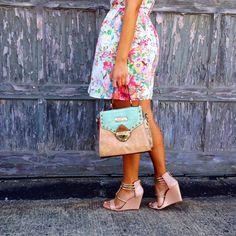 The Style Storm: Jessica Simpson wedges, Modcloth floral dress, Nicole Lee USA bag