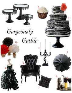 They tagged it #goth...but I think some of the basic decor would carry over well for a #ZombieWedding. (red/black/white poms, black painted cake stands, etc. would be easy to repro.