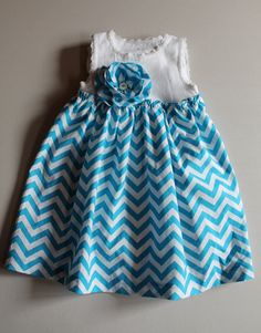 Chevron Dress, baby girl chevron dress, toddler girl chevron dress, chevron onesie dress, turquoise chevron dress