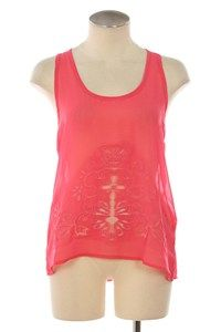 Peach. Coral. Pink. Sleeveless. Cutouts. sheer. tank top. Summer