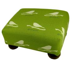 Birds Upholstered Footstool Ottoman - Made in the USA In the Garden and More