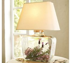Flowers in Glass Lamp