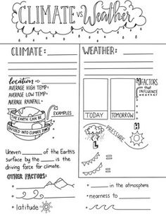 Climate and Weather Graphic Organizer by Creativity Meets Cognition 7th Grade Science, Teaching 5th Grade, Primary Science, Middle School Science, Science Classroom, Teaching Science, Physical Science, Science Education, Classroom Ideas