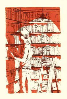 Bookshelves  by koyar - silk screen print