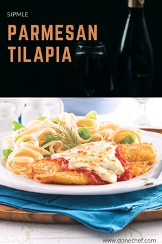 A tasty blend of flavors and textures in this simple parmesan tilapia dish that is ready in minutes, and doesn't require many ingredients. you can try it, a great family dinner. Tilapia Dishes, Tilapia Fish Recipes, Parmesan Tilapia, Make It Simple, Dinner Recipes, Tasty, Cooking, Healthy, Kitchen