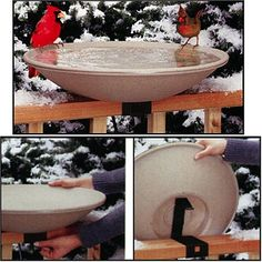 """$64.24-$69.95 API 650 Heated Bird Bath with Mounting Bracket - Attract a variety of wintering birds to your backyard with a warm, clean Mollema & Son birdbath. A Built-in thermostat prevents bird bath water from freezing, even on the chilliest winter days. Plus, thanks to the convenient """"tilt-to-clean"""" deck rail mounting bracket, keeping the bowl tidy is simple. This product is covered by a one-y ..."""