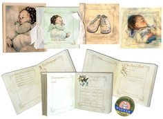 """Opposite most pages are blank """"Memo"""" pages for adding baby photos or additional journaling, with up to 200 (4x6) photos. Some pages also have handy pocket for storing keepsakes.  This baby album is beautifully presented in a Kraft gift paper box with a large window lid. Baby Books, Baby Album, Keepsakes, Paper Gifts, Baby Love, Baby Photos, Vintage Inspired, Pray, Journaling"""