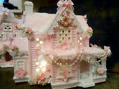 shabby pink victorian christmas village house chic hp ooak roses glitter - Christmas Home Decorations Christmas Village Houses, Christmas Town, Christmas Villages, Pink Christmas, All Things Christmas, Putz Houses, Shabby Chic Christmas, Victorian Christmas, Vintage Christmas