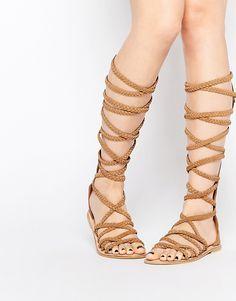 b4a69d40d8b ASOS FOLEY Knee High Plaited Suede Sandals at asos.com