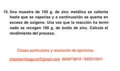 Ejercicio 13. Tema: Rendimiento (reacciones químicas)