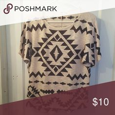 Geometric top Flowy cream and black geometric top. Never worn. Ginger G Tops Tees - Short Sleeve