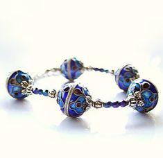 Deep blue cloisonne bracelet, enamel beadwork bracelet, antique look royal blue bracelet, cloisonne jewelry on Etsy, £17.80