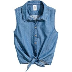 Sleeveless Tie-front Blouse $17.99 ($18) ❤ liked on Polyvore featuring tops, blouses, sleeveless button blouse, sleeveless denim blouse, blue sleeveless top, sleeveless blouse and denim top