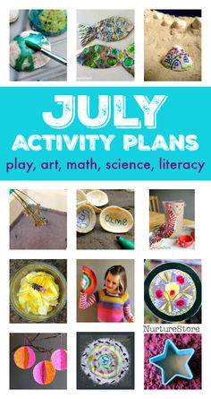 July activity plans :: things to do in July with kids July activity plans :: summer bucket list ideas :: things to do with kids in July :: seasonal activity calendar :: summer screen free play ideas Montessori Activities, Toddler Activities, Learning Activities, Preschool Activities, Summer Activities For Kids, Summer Kids, Summer School, Happy Mom, Happy Kids