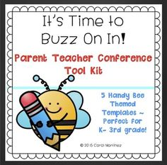 Here's a handy tool kit to help you organize your Parent-Teacher Conferences.  You will receive adorable, bee-themed templates to help you get started:An Appointment Sign Up Notice (color or black & white)Appointment Notice (color or black & white)Student Folder Cover (color or black & white)Wrist Bracelet RemindersReminder Slips