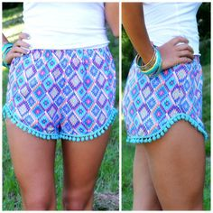 $24.00 Kaleidoscope Eyes Mint  Purple Pom Pom Shorts - Bestie.com