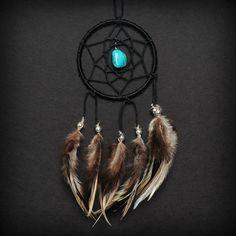 Black Turquoise Stone Car Mirror Dream Catcher via Etsy