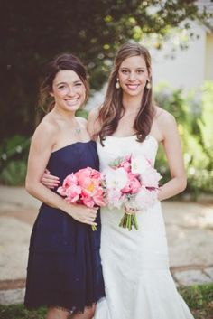 navy bridesmaid dress, coral flowers - i like this better than the coral dress @Esther Yuen Vialatte@Mary Batycki@Janae Rosser