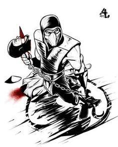 Mortal Kombat Tattoo, Scorpion Mortal Kombat, Mortal Kombat Art, Sub Zero, Shirt Ideas, Sketching, Dragon Ball, Coloring Pages, Anime