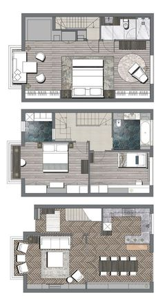 Private Residence, Highbury, London — Upperworth Studios The price reach of the Apartment was amazin Dream House Plans, Small House Plans, House Floor Plans, Detail Architecture, Plans Architecture, Interior Design Layout, Interior Design Presentation, Hotel Room Design, Home Design Floor Plans