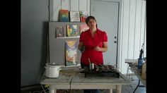 This is me teaching artists how to draw with Encaustic Wax medium with a Tjanting tool.