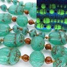 Vintage Art Deco Neiger Scarab Egyptian Revival Uranium Vaseline Glass Bead Neck