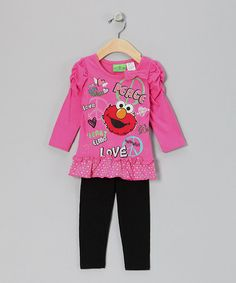 Take a look at this Pink 'Peace' Elmo Ruched Tunic & Leggings - Infant by Sesame Street on #zulily today!