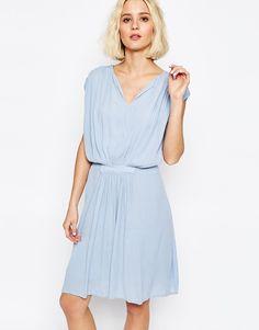 Paisie+Drape+Dress+with+Gathered+Waist