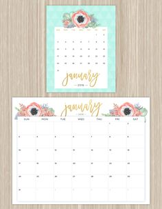 printable floral calendar - january