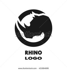 Silhouette of the rhino, monochrome logo.