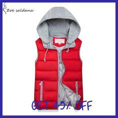 Zoe Saldana 2017 Women Hooded Vest Autumn Winter Warm Cotton Padded Waistcoat Sleeveless Zipper Basic Coat