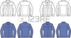Ilustración vectorial de los hombres y de las mujeres s s vaqueros chaquetas Vista frontal y posterior Foto de archivo