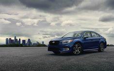 Download wallpapers Subaru Legacy, 4k, parking, 2018 cars, blue Legacy, japanese cars, new Legacy, Subaru
