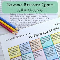 A reading response activity that can be used in a variety of ways in your classroom! Here are just a few suggestions of how you can utilize these reading responses as reading activities or reading assignments:- Assign students a written response at the end of each chapter or two while studying a class novel. - Use the quilt to hold students accountable for books they read independently. - Have students use the prompts to write book report assignments. - Assign a weekly writing assignment…