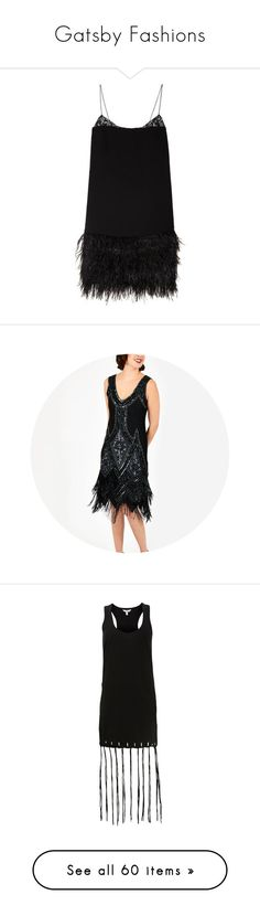 """Gatsby Fashions"" by maw036 ❤ liked on Polyvore featuring dresses, robe, short dresses, feather mini dress, gatsby dress, flapper style dresses, flapper inspired dress, vintage style flapper dresses, vintage style dresses and roaring 20s dress"