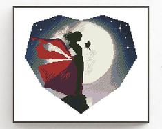 New Landscape Night Sky Stars Ideas Geometric Embroidery, Baby Embroidery, Simple Embroidery, Modern Cross Stitch Patterns, Cross Stitch Charts, Cross Stitch Designs, Night Sky Stars, Night Skies, Geometric Heart