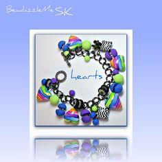 polymer clay Rainbow Hearts bracelet