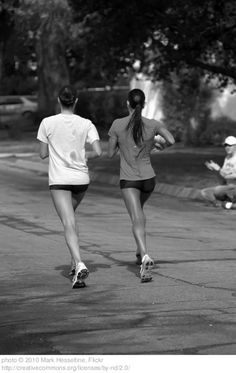 Running with Friends.. @Irene Hoffman Herbst <----super cute! @Irene Hoffman Herbst in the bun and @Tracy Shigemura Fifita with the long hair. :)