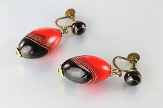 Art Deco Venetian glass Earrings Murano aventurine screw back earrings, Red Black 1930s jewelry