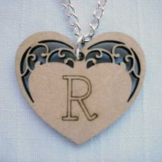 customised laser cut wooden heart necklace