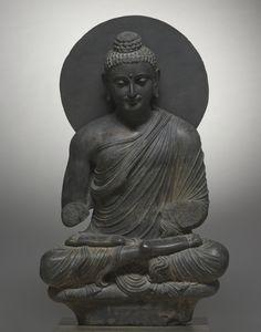 Seated Buddha, 1st half of the 3rd Century  Pakistan, Gandhara, Kushan Period (1st century-320)  gray schist,