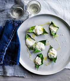 Stracciatella grilled on lemon leaves recipe | Lennox Hastie :: Gourmet Traveller