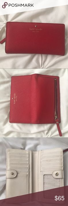 Red Kate Spade Wallet Clutch Red Kate Spade Wallet - scuffs from cards, but unseen and covered when in use, mark in coin purse, outside in great condition.   ---- 🚭 All items are from a non-smoking home. 👆🏻Item is as described, feel free to ask questions. 📦 I am a fast shipper with excellent ratings. 👗I love bundles & bundle discounts. Feel free to make an offer! 😍 Like this item? Check out the rest of my closet! 💖 Thanks for looking! kate spade Bags Wallets